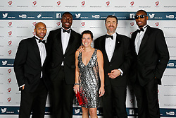 Cardell Macfarland, Daniel Edozie and Tyrone Lee of Bristol Flyers attend Bristol Sport's Annual Gala Dinner at Ashton Gate Stadium - Mandatory byline: Rogan Thomson/JMP - 08/12/2015 - SPORT - Ashton Gate Stadium - Bristol, England.