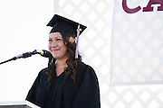 Cal Hills senior Lisa Michell Sisneroz shares stories about her struggles before transferring to Cal Hills and how faculty helped her plan a future becoming a chef during graduation on June 15, 2012.  Photo by Stan Olszewski/SOSKIphoto.
