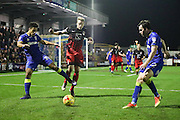 AFC Wimbledon striker Lyle Taylor (33) and AFC Wimbledon defender Sean Kelly (22)  during the EFL Sky Bet League 1 match between AFC Wimbledon and Coventry City at the Cherry Red Records Stadium, Kingston, England on 14 February 2017. Photo by Stuart Butcher.