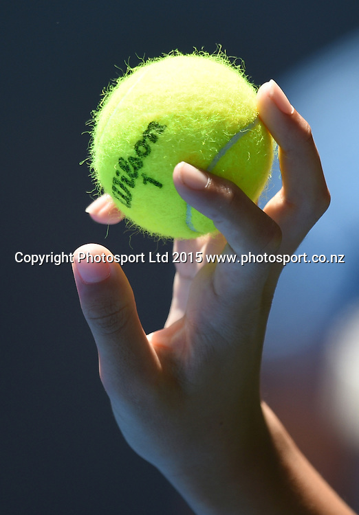 Tennis ball on Day 2 at the Heineken Open. Festival of Tennis, ATP World Tour. ASB Tennis Centre, Auckland, New Zealand. Tuesday 13 January 2015. Copyright photo: Andrew Cornaga/www.photosport.co.nz