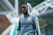 Leeds United forward Eddie Nketiah (14) arrives at the ground during the EFL Sky Bet Championship match between Huddersfield Town and Leeds United at the John Smiths Stadium, Huddersfield, England on 7 December 2019.