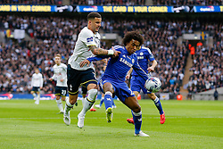 Willian of Chelsea is challenged by Kyle Walker of Tottenham Hotspur - Photo mandatory by-line: Rogan Thomson/JMP - 07966 386802 - 01/03/2015 - SPORT - FOOTBALL - London, England - Wembley Stadium - Chelsea v Tottenham Hotspur - Capital One Cup Final.
