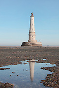 The Phare de Cordouan, or Cordouan Lighthouse, built 1584-1611 in Renaissance style by Louis de Foix, 1530-1604, French architect, located 7km at sea, near the mouth of the Gironde estuary, Aquitaine, France. This is the oldest lighthouse in France. There are 4 storeys, with keeper apartments and an entrance hall, King's apartments, chapel, secondary lantern and the lantern at the top at 68m. Parabolic lamps and lenses were added in the 18th and 19th centuries. The lighthouse is listed as a historic monument. Picture by Manuel Cohen