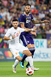 Bruno Telushi of FK Partizani Tirana and Amir Dervisevic of NK Maribor during 2nd Leg football match between NK Maribor and FK Partizani Tirana in 1st Qualifying Round of UEFA Europa League 2018/18, on July 19, 2018 in Ljudski vrt, Maribor, Slovenia. Photo by Urban Urbanc / Sportida