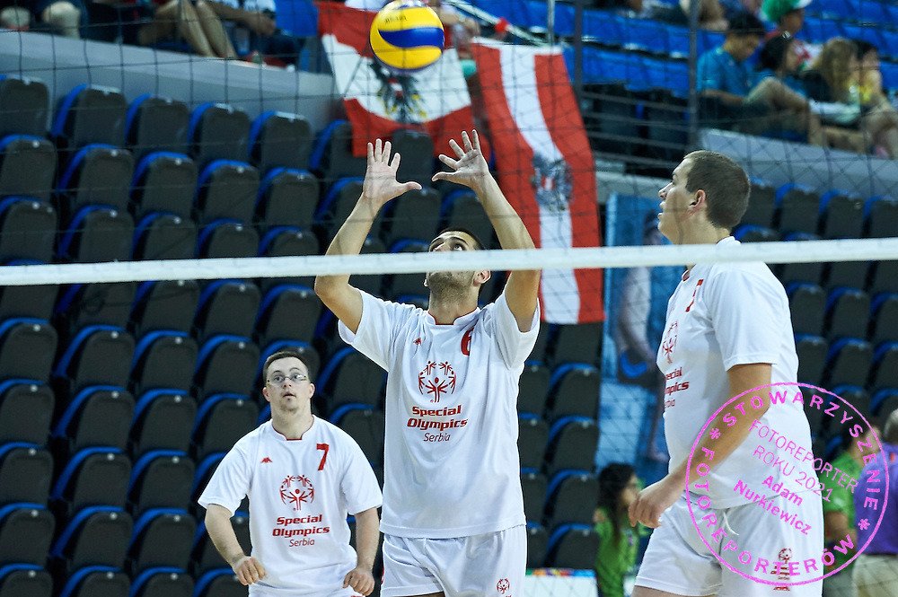SO Serbia athletes in action while volleyball men match between SO Serbia and SO Botswana during fourth day of the Special Olympics World Games Los Angeles 2015 on July 28, 2015 at Pauley Pavillon UCLA (University of California, Los Angeles) in Los Angeles, USA.<br /> USA, Los Angeles, July 28, 2015<br /> <br /> Picture also available in RAW (NEF) or TIFF format on special request.<br /> <br /> For editorial use only. Any commercial or promotional use requires permission.<br /> <br /> Adam Nurkiewicz declares that he has no rights to the image of people at the photographs of his authorship.<br /> <br /> Mandatory credit:<br /> Photo by &copy; Adam Nurkiewicz / Mediasport
