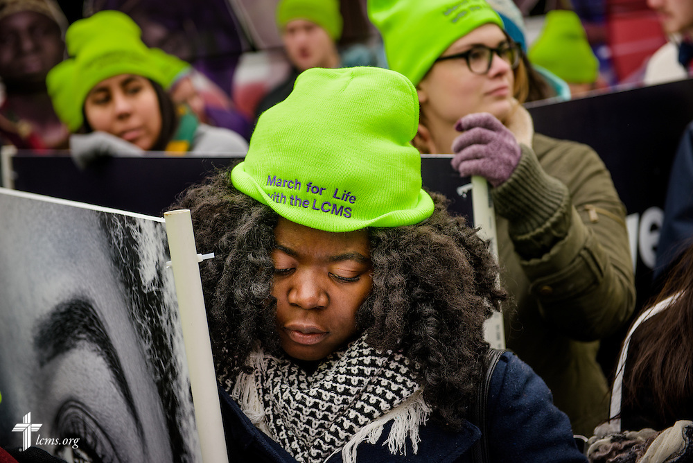 Comfort Jargba prepares to walk in the March for Life 2017 on Friday, Jan. 27, 2017, in Washington, D.C. LCMS Communications/Erik M. Lunsford