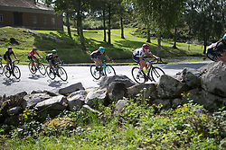 A small group rides through the fort above Halden on Stage 3 of the Ladies Tour of Norway - a 156.6 km road race, between Svinesund (SE) and Halden on August 20, 2017, in Ostfold, Norway. (Photo by Balint Hamvas/Velofocus.com)