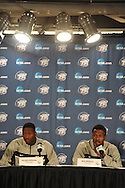 Ole Miss' Murphy Holloway (left) and Ole Miss' Nick Williams (20) speaks at a press conference at the Sprint Center in Kansas City, Mo. on Thursday, March 21, 2013. Ole Miss plays Wisconsin in the NCAA Tournament on Friday, March 22, 2013.