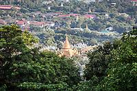 Looking across to the Kuthodaw Pagoda in Mandalay, Burma