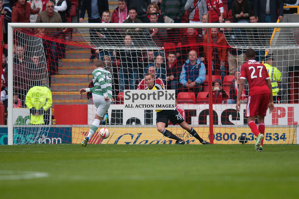 Kris Commons slots home the penalty for Celtic's first goal. Aberdeen v Celtic , SPFL at Pittodrie, Saturday 17 August 2013 (c) ANGIE ISAC | SportPix.eu