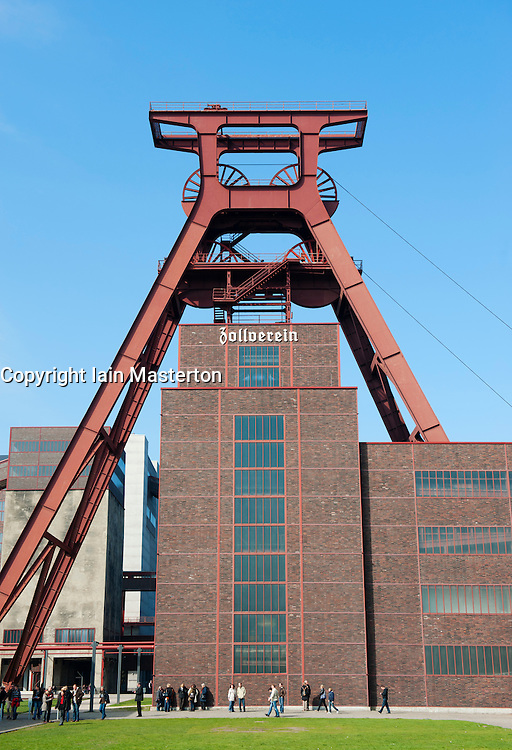 Winding gear tower at former coal mine now heritage  museum at  Zollverein in Essen, Germany, a UNESCO World Heritage site