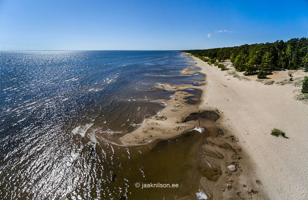 Kauksi beach, lake Peipsi in Estonia. Aerial view of sandy beach. Sun reflecting on water, landscape, trees.