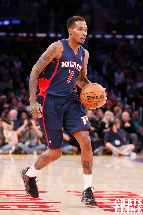 17 November 2013: Detroit Pistons point guard Brandon Jennings (7) dribbles during the Los Angeles Lakers 114-99 victory over the Detroit Pistons at the Staples Center, Los Angeles, California, USA.