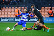 Hartlepool United midfielder Nicky Deverdics (17) is tackled by Barnet midfielder Mauro Vilhete (32) during the EFL Sky Bet League 2 match between Barnet and Hartlepool United at Underhill Stadium, London, England on 29 October 2016. Photo by Jon Bromley.