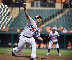 August 23, 2017 - Baltimore, MD, USA - Baltimore Orioles pitcher Dylan Bundy works against the Oakland Athletics in the first inning at Oriole Park at Camden Yards in Baltimore on Wednesday, Aug. 23, 2017. The Orioles won, 8-7, in 12 innings. (Credit Image: © Kenneth K. Lam/TNS via ZUMA Wire)