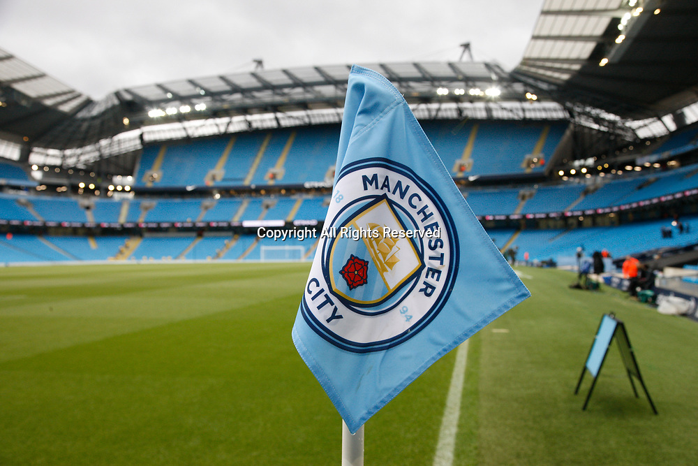 May 16th 2017, Etihad Stadium, Manchester, England; EPL Premier League football, Manchester City versus West Bromwich Albion; The City emblem on a corner flag at the Manchester City's Etihad Stadium before tonight's game