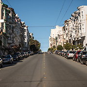 One of the steep hills in the North Beach neighborhood of San Francisco, California.