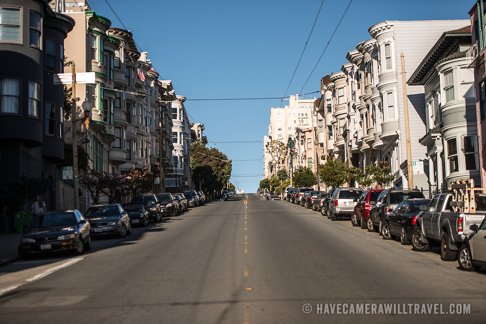 One of the steep hills in the North Beach neighborhood of San Francisco, California.