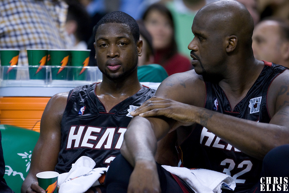 16 November 2007: Dwyane Wade of the Miami Heat is seen next to Shaquille O'Neal during the Boston Celtics 92-91 victory over the Miami Heat at TD Banknorth Garden, Boston, Massachusetts, USA.