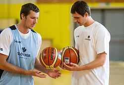 Goran Dragic and Domen Lorbek during training camp of Slovenian National basketball team for Eurobasket 2013 on July 19, 2013 in Sports hall Rogatec, Slovenia. (Photo by Vid Ponikvar / Sportida.com)