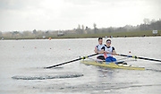 Eton, GREAT BRITAIN,  Richard EGINGTON (bow), and Matt LANGRIDGE (stroke) , M2-, power away from the Start, GB Trials 3rd Winter assessment at,  Eton Rowing Centre, venue for the 2012 Olympic Rowing Regatta, Trials cut short due to weather conditions forecast for the second day Sunday  13/02/2011   [Photo, Karon Phillips/Intersport-images]