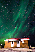 Northern lights above small village of Bleidabollstadur, Vatnajokull National Park, Iceland
