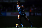 Christian Pavon (10) of LA Galaxy moves the ball down the field in the Summer sun during the MLS soccer match against the Seattle Sounders on Saturday, September 1, 2019, in Seattle, Washington. (Alika Jenner/Image of Sport via AP)