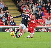 Aberdeen&rsquo;s Andrew Considine tackles Dundee's Nick Ross - Aberdeen v Dundee at Pittodrie<br /> - Ladbrokes Premiership<br /> <br />  - &copy; David Young - www.davidyoungphoto.co.uk - email: davidyoungphoto@gmail.com