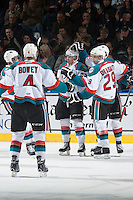 KELOWNA, CANADA - MARCH 7: Chance Braid #22, Tomas Soustal #15 and Leon Draisaitl #29 of Kelowna Rockets celebrate a goal against the Spokane Chiefs on March 7, 2015 at Prospera Place in Kelowna, British Columbia, Canada.  (Photo by Marissa Baecker/Shoot the Breeze)  *** Local Caption *** Chance Braid; Tomas Soustal; Leon Draisaitl;