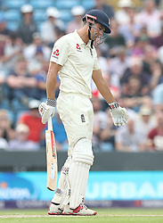 England's Alastair Cook appears dejected after being caught behind by Pakistan wicket keeper Sarfraz Ahmed during day one of the second Investec Test Match at Headingley Carnegie, Leeds.