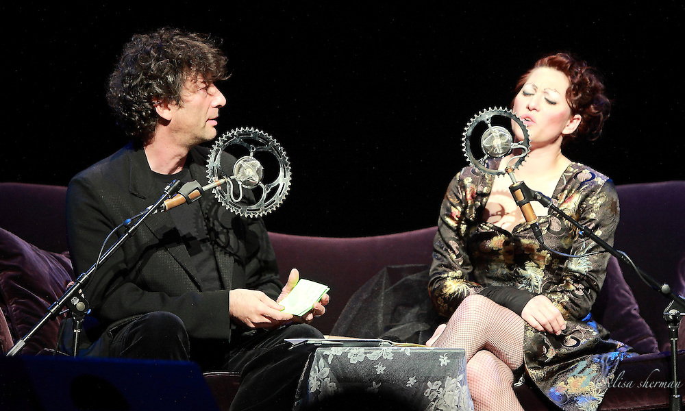 "Neil Gaiman abd Amanda Palmer perform on November 9th, 2011 during the ""An Evening with Neil Gaiman & Amanda Palmer""  at the Moore Theatre."