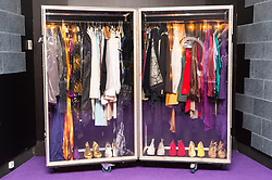 © Licensed to London News Pictures. 26/10/2017. London, UK. A clothes wardrobe worn by the musician Prince during the Australian leg of the world tour in 2013. This is the first ever exhibition about iconic superstar and legendary performer PRINCE showcases hundreds of never seen before artefact's directly from Paisley Park, Prince's famous Minnesota private estate. Photo credit: Ray Tang/LNP