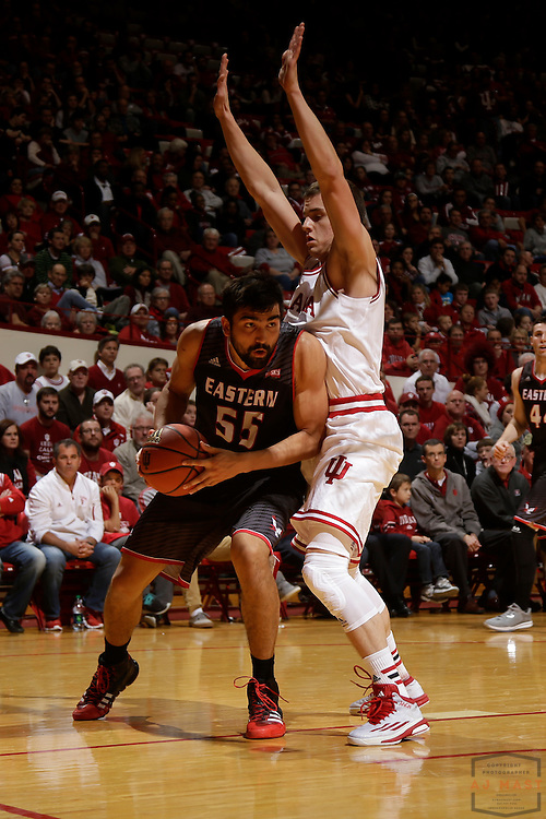 Eastern Washington forward Venky Jois (55) as Eastern Washington played Indiana in an NCAA college basketball game in Bloomington, Ind., Monday, Nov. 24, 2014. (AJ Mast)