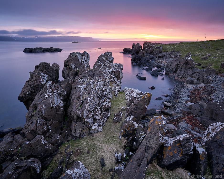 Sunset at Munaðarnes, Strandir area, Northwest Iceland.