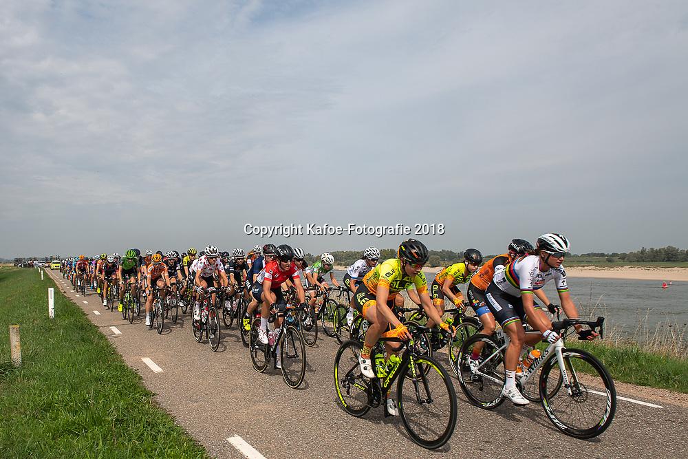 29-08-2018: Wielrennen: Ladies Tour: Nijmegen<br /> Peloton op de dijk langs de Waal met o.a. Chantal Blaak