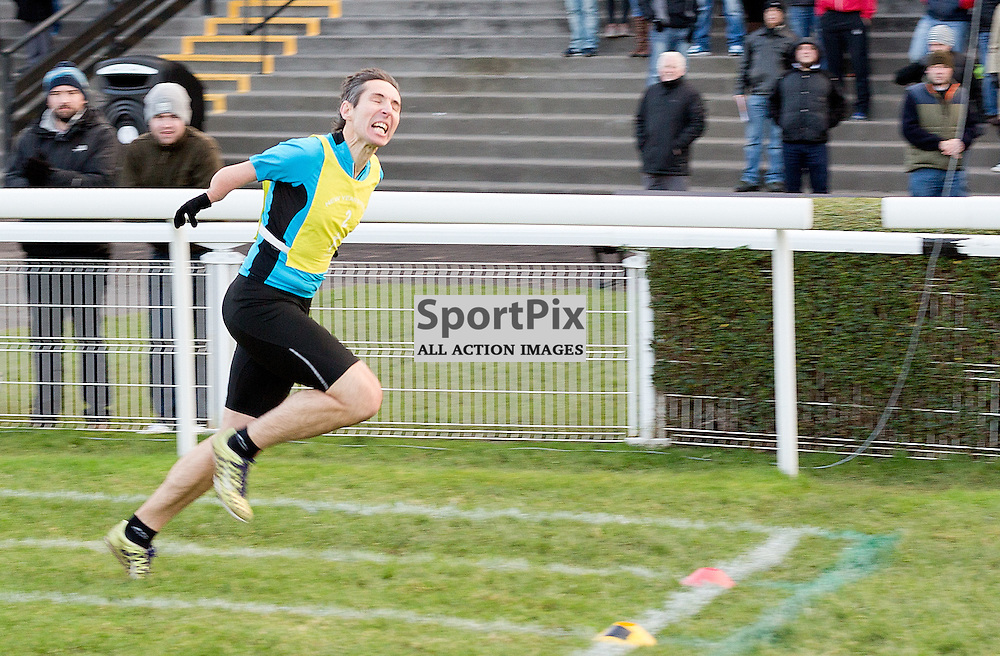 146th New Year Sprint 31 December 2014; David McKay from Kelso wins the Pat Cheser men's 90 metres Open Handicap at Musselburgh Racecourse, Musselburgh;