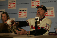 Former Major League pitcher Bruce Sutter adjusts his Hall of Fame hat during a press conference which was held after Sutter was elected to baseball's Hall of Fame Wednesday 11 January 2006 in New York. Sutter, who played for the St. Louis Cardinals, the Chicago Cubs and the Atlanta Braves, is just the fourth relief pitcher to be elected to the Hall of Fame, major league baseball's highest honor.
