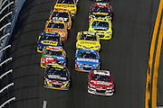 Feb 21, 2013; Daytona Beach, FL, USA; NASCAR Sprint Cup Series driver Jeff Gordon (24) leads the field to the green flag during race two of the Budweiser Duel at Daytona International Speedway. Mandatory Credit: Douglas Jones-DDJ Sports Imaging