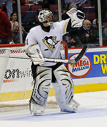 Mar 14, 2007; East Rutherford, NJ, USA;  Pittsburgh Penguins goalie Jocelyn Thibault (41) celebrates after his 3-0 shutout win over the New Jersey Devils  at Continental Airlines Arena in East Rutherford, NJ. Mandatory Credit: Ed Mulholland-US PRESSWIRE Copyright © 2007 Ed Mulholland