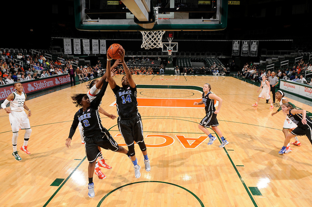Ka'lia Johnson #14 of Duke in action during the NCAA basketball game between the Miami Hurricanes and the Duke Blue Devils at the Bank United Center in Coral Gables, FL. The Hurricanes defeated the Blue Devils 69-65.
