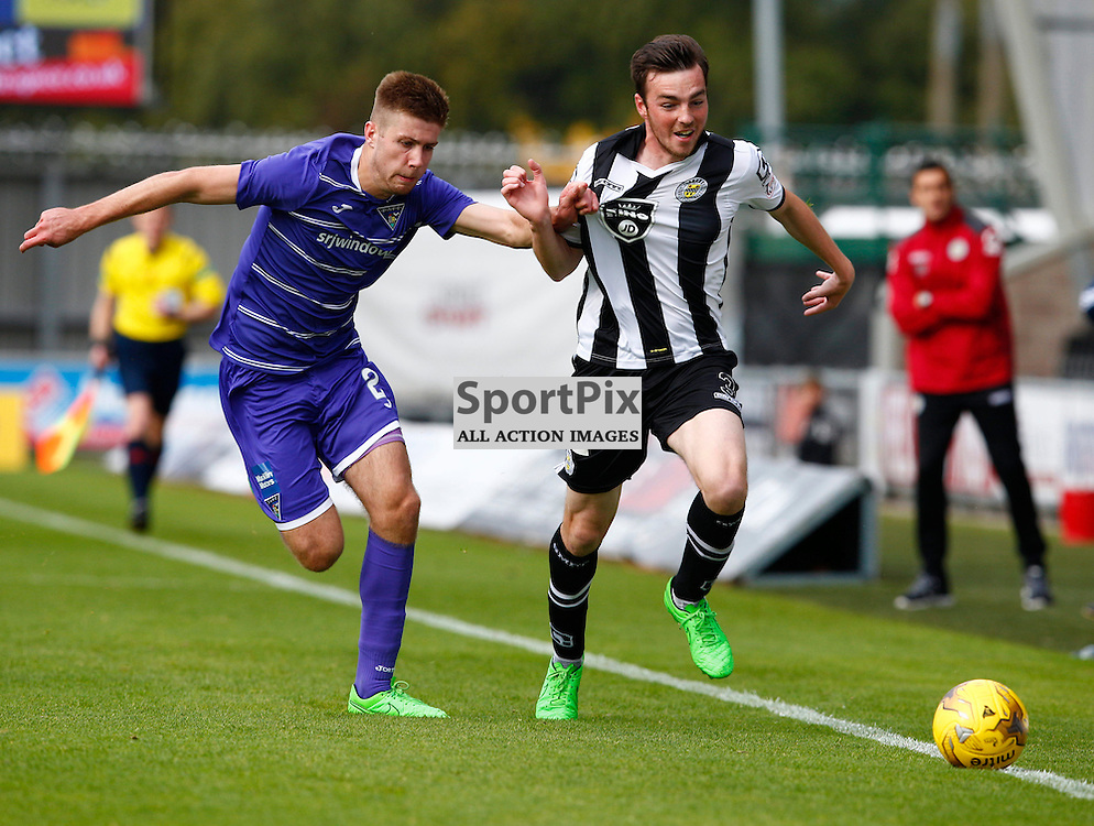 St.Mirren v Dunfermline Athletic, PETROFAC TRAINING CUP 1/4 Final 10th October 2015....Shaun Rooney and Sean Kelly battle for the ball...(c) STEPHEN LAWSON | SportPix.org.uk