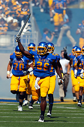 September 24, 2011; San Jose, CA, USA; San Jose State Spartans defensive end Mohamed Marah (26) leads his team on to the field before the game against the New Mexico State Aggies at Spartan Stadium.