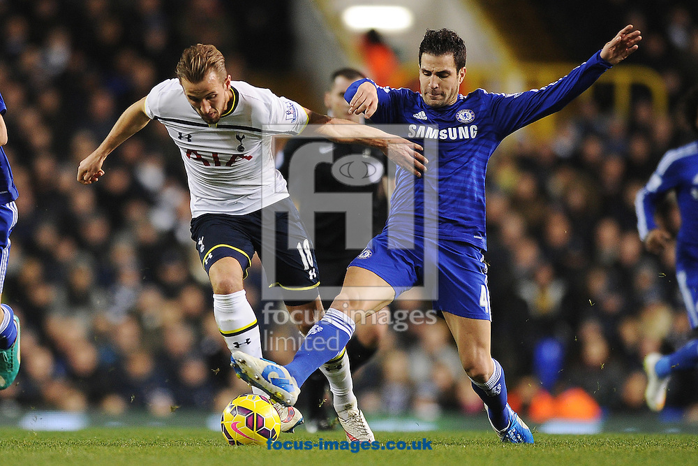 Harry Kane of Tottenham Hotspur looks to get past Cesc Fabregas of Chelsea during the Barclays Premier League match between Tottenham Hotspur and Chelsea  at White Hart Lane, London<br /> Picture by Richard Blaxall/Focus Images Ltd +44 7853 364624<br /> 01/01/2015