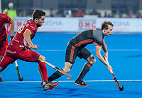 BHUBANESWAR, INDIA -  Seve van Ass (Ned) met Cedric Charlier (Belgie) tijdens de  finale tussen België en Nederland bij het WK Hockey heren in het Kalinga Stadion. COPYRIGHT KOEN SUYK