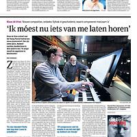 Tekst en beeld zijn auteursrechtelijk beschermd en het is dan ook verboden zonder toestemming van auteur, fotograaf en/of uitgever iets hiervan te publiceren <br /> <br /> Parool 12 november 2013: componist Klaas de Vries
