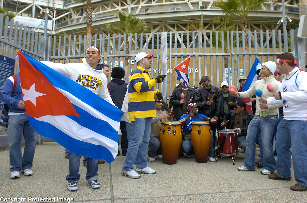 Team Cuba fans getting into the party mood before the start of the game matching Team Cuba and Team Japan in Final action of the World Baseball Classic at PETCO Park, San Diego, CA.