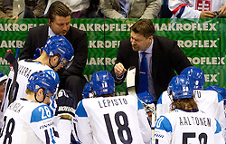 Head coach  of Finland Jukka Jalonen with players during ice-hockey match between Germany and Finland of Group E in Qualifying Round of IIHF 2011 World Championship Slovakia, on May 6, 2011 in Orange Arena, Bratislava, Slovakia. (Photo By Vid Ponikvar / Sportida.com)