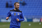 Liam Kelly of Oldham Athletic warms up before the Sky Bet League 1 match between Oldham Athletic and Chesterfield at Boundary Park, Oldham, England on 28 March 2016. Photo by Simon Brady.