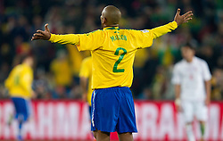 Maicon of Brazil celebrates during the 2010 FIFA World Cup South Africa Round of Sixteen match between Brazil and Chile at Ellis Park Stadium on June 28, 2010 in Johannesburg, South Africa.  (Photo by Vid Ponikvar / Sportida)