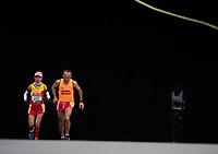 Maria Paredes Rodrigues ESP runs alongside her Guide Runner in the T12 Women World Para Athletics Marathon Championships. The Virgin Money London Marathon, 28 April 2019.<br /> <br /> Photo: Jon Buckle for Virgin Money London Marathon<br /> <br /> For further information: media@londonmarathonevents.co.uk